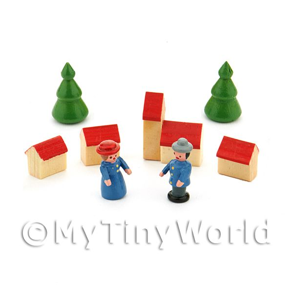 Dolls House Miniature Village And People Set