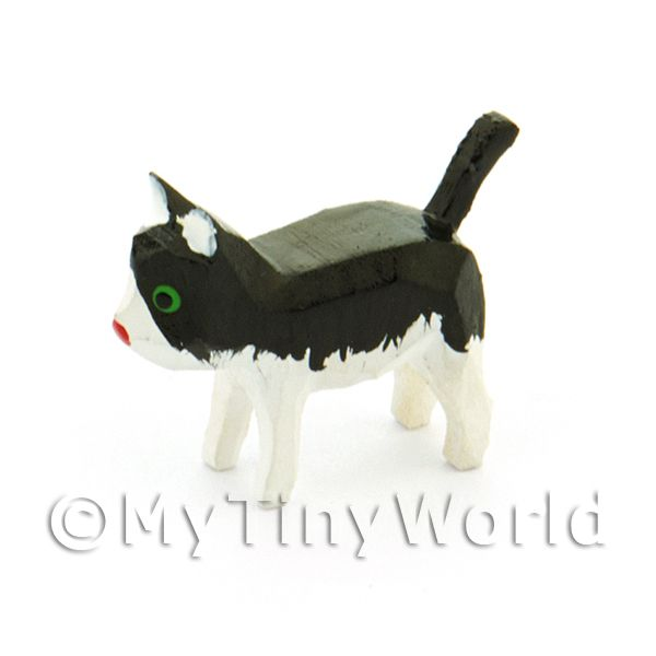 German Dolls House Small Standing Black And White Cat
