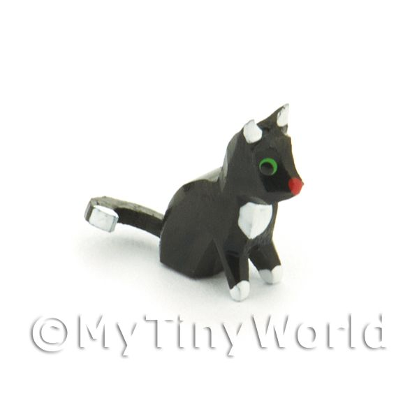 German Dolls House Miniature Small Sitting Black Cat