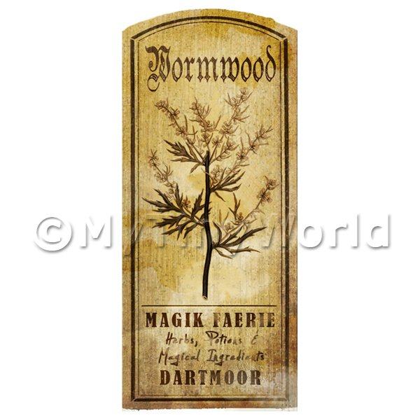 Dolls House Miniature  | Dolls House Herbalist/Apothecary Wormwood Herb Short Sepia Label