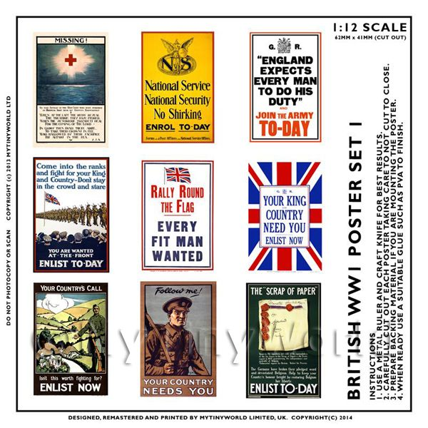 Dolls House Miniature World War One Set of 9 Posters - Set 1