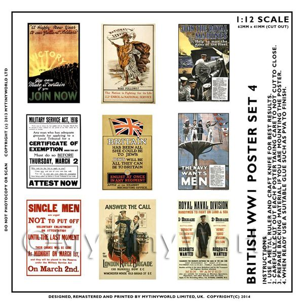 Dolls House Miniature World War One Set of 9 Posters - Set 4