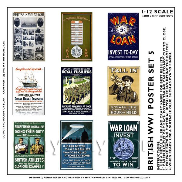 Dolls House Miniature World War One Set of 9 Posters - Set 5