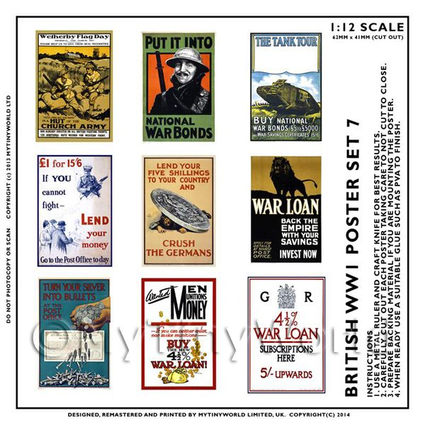 Dolls House Miniature World War One Set of 9 Posters - Set 7