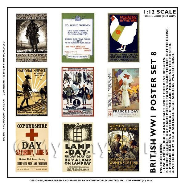 Dolls House Miniature World War One Set of 9 Posters - Set 8