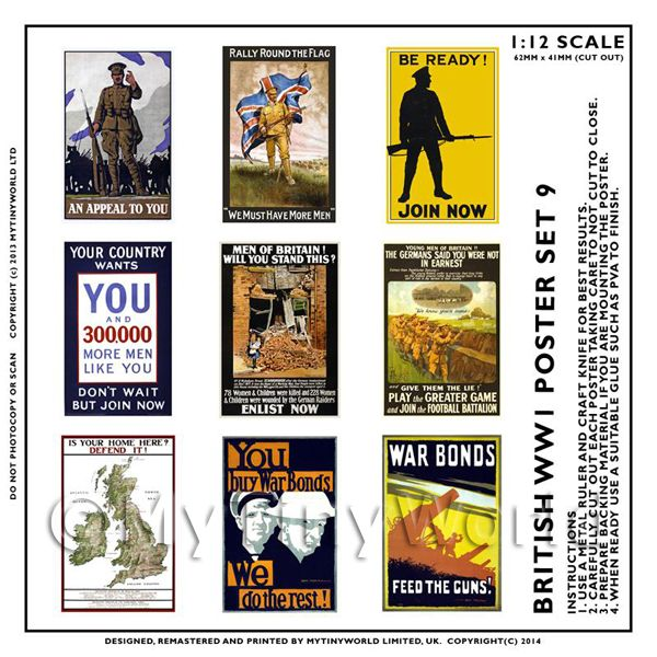Dolls House Miniature World War One Set of 9 Posters - Set 9