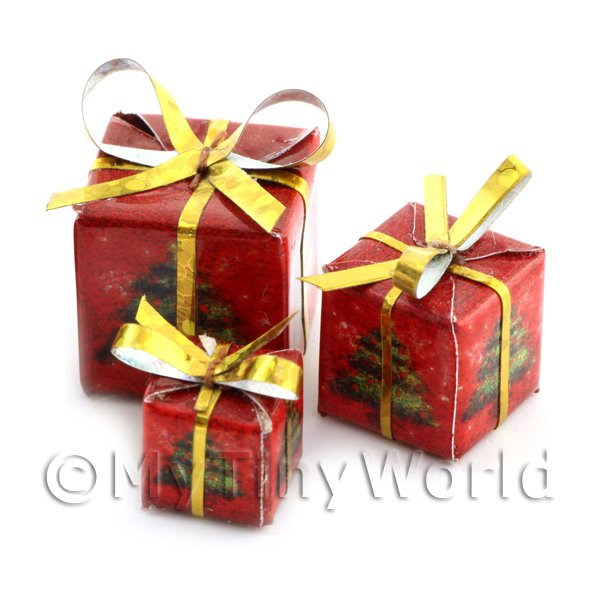 Dolls House Miniature  | Dolls house Miniature set of 3 Christmas Parcels Style 1