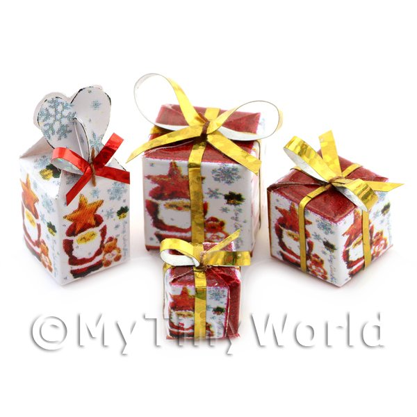 Dolls House Miniature set of 4 Christmas Parcels Style 4