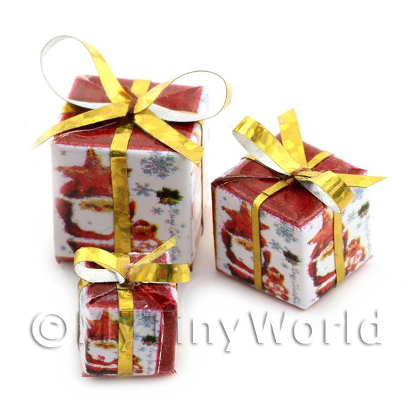 Dolls house Miniature set of 3 Christmas Parcels Style 4