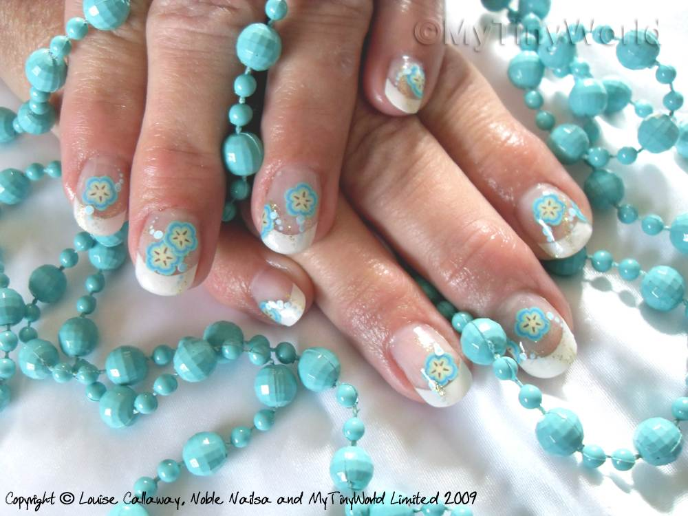 Nail Art Picture - Blue Flowers