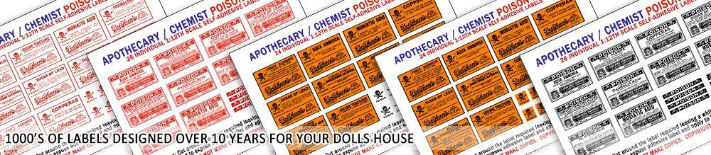 Dolls House Miniature Poison Label Pack 1